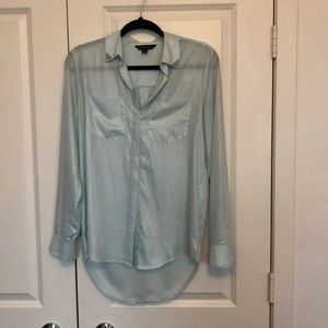 Ice blue sheer button down top